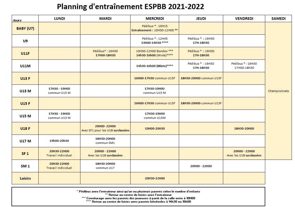 planning entrainement à partir du 6 Septembre 2021